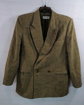 Giorgio Armani Le Collezioni Brown Plaid New Wool Jacket Blazer Women's 14 Italy