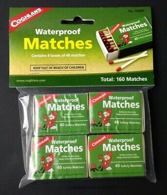 Coghlan's Waterproof Matches 160-Count Wooden Fire Starters 4 Boxes w/Strikers