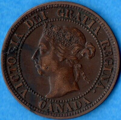 Canada 1891 SD SL 1 Cent One Large Cent Coin - Key Date - Very Fine