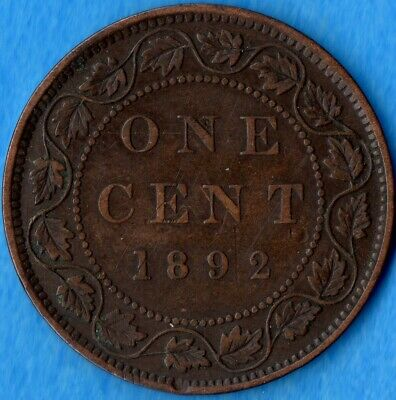 Canada 1892 1 Cent One Large Cent Coin - Very Fine+ (thin scratches)