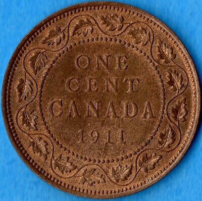 Canada 1911 1 Cent One Large Cent Coin - Uncirculated+