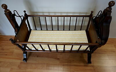 Antique Wooden Cradle With Cushion Cherry Valley Ny