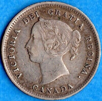 Canada 1888 5 Cents Five Cent Small Silver Coin - Solid Very Fine
