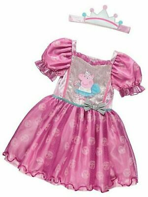 George Girls Official Peppa Pig Princess Fancy Dress Costume 1-4 YRS BNWT