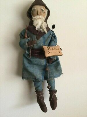 Early Primitive Christmas Santa St. Nick Cloth Doll - Made By Olde Raggs Usa