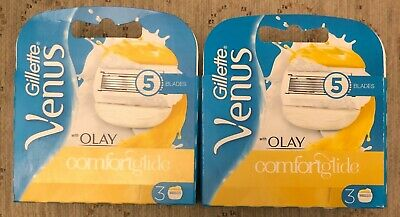 6 x GENUINE GILLETTE VENUS COMFORTGLIDE GEL BAR BLADES (2 X 3 PACKS) NEW SEALED