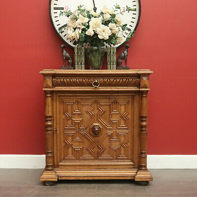 Antique Hall Cabinet, French, Light Oak, Heavily Carved, Drawer and Cupboard