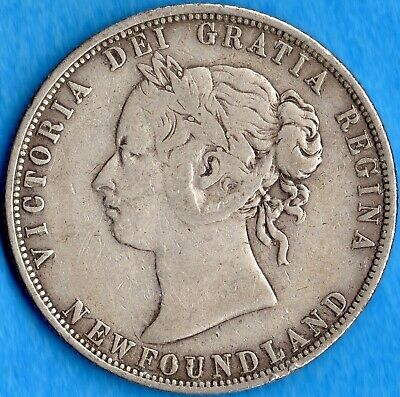 Canada Newfoundland 1880 50 Cents Fifty Cents Silver Coin - Very Good