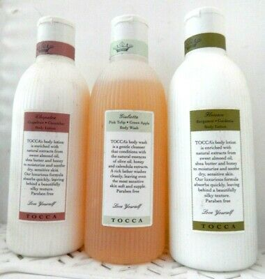 3 Pc Mixed Lot TOCCA Florence & Cleopatra BODY LOTION Giulietta Body Wash 9oz Ea
