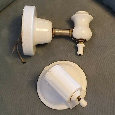 TWO Early White Porcelain Wall Sconce Light Fixture