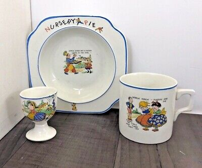Authentic Vintage Children's China Crockery Set Nursery Pie Bowl Mug Egg Cup