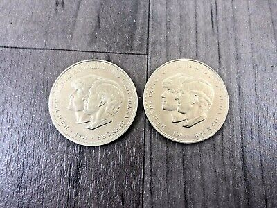 PAIR AUTHENTIC 1980 PRINCE OF WALES and LADY DIANA SPENCER WEDDING CROWN COINS