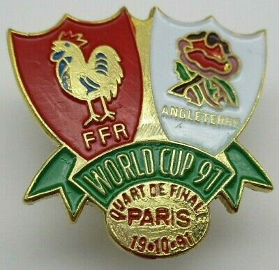 France v England 1991 iRB Rugby Union World Cup Paris Quarter Final Pin Badge