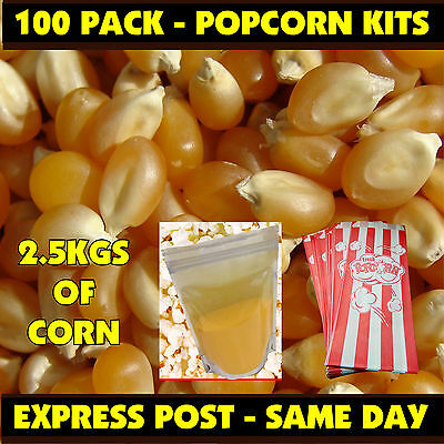 Cinema Popcorn Makes Approx 100 bags of Popcorn! Salt & Corn & Bags - Bulk Pack!