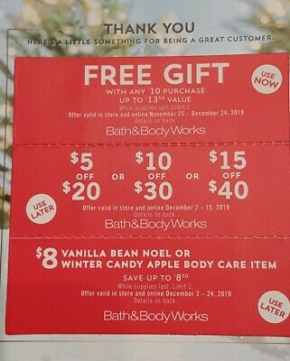 (3) Bath and Body Works  Coupons GIFT/$5 $10 or $15 OFF/ $8 Body Care Item
