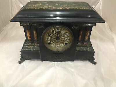 Antique 1880 Seth Thomas #102 Adamantine Mantle Shelf Clock Faux Green Marble