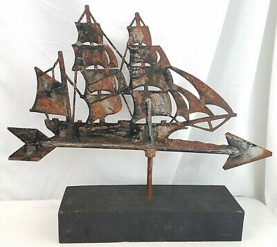 "Antique Folk Art Clipper Ship Weathervane metal 18.5"" Boat neat Old"