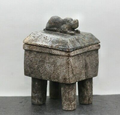 Spectacular Antique Chinese Stone Carved Archaic Design Lidded Censer c1700s