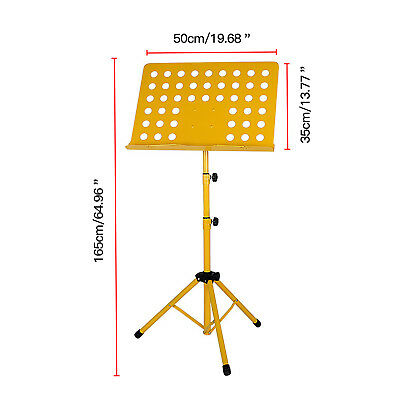 Yellow - Adjustable Orchestral Conductor Sheet Music Stand Holder Tripod Base
