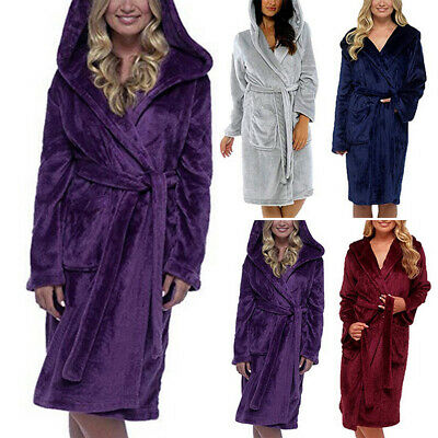 Women's Hoodie Nightwear Bath Robe Long Sleeve Fluffy Fleece Dressing Gown Set