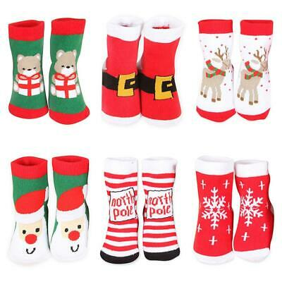 Winter Girls Boys Socks Kids Striped Thick Warm Christmas Short Socks Gift NEW