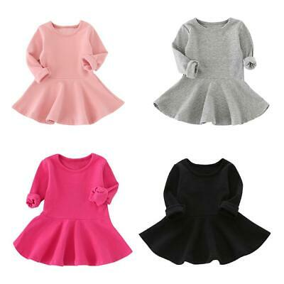 Cute Children Girls Solid Color Long Sleeve Dress Kid Autumn Casual Clothes NEW