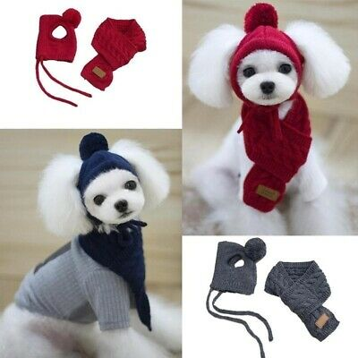 Pet Dog Winter Warm Stripes Knitted Hat+Scarf Puppy Christmas Dress-up Costume