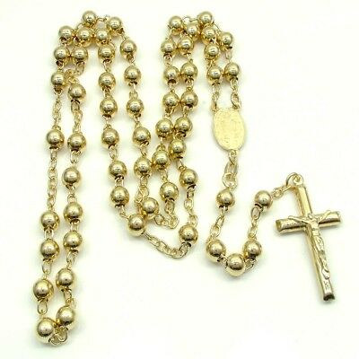 """Mens 14K Yellow Gold 6MM Crucifix Chain Rosaries Necklace Cross Pendant 26"""""""