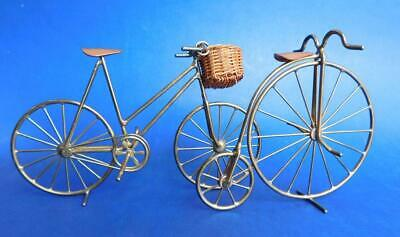 2x Bespoke Vintage hand made Brass & Copper Bicycles Penny Farthing Miniatures