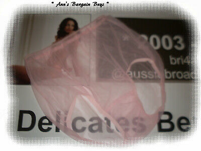 Womans-Size-16-Sheer-lace-Nylon-Full Brief-Baby Pink-Vintage Stock-NWOT