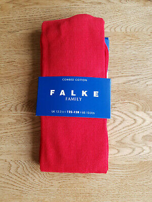 RRP £14 - FALKE PAIR GIRLS TIGHTS Red Combed Cotton UK 12 - 2.5 / EUR 122 - 128