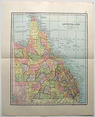 Original 1903 Map of Queensland by Dodd Mead & Company. Australia