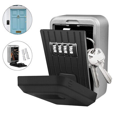 Wall Mounted 4-Digit Combination Key Lock Storage Box Safe Security Home Office