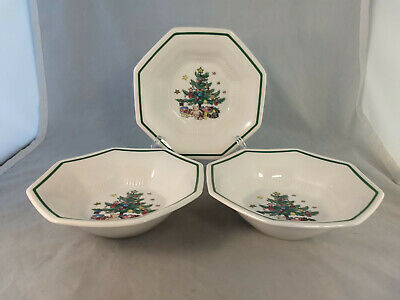 """Set of 3 Nikko Christmastime 6 3/4"""" All Purpose Cereal Bowls"""