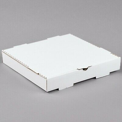"(50-Pack) 12"" x 12"" x 1 3/4"" White Corrugated Plain Pizza / Bakery Box"