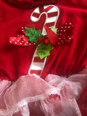 Rare Editions Baby girl red dress 3Month Christmas Tutu Candy Cane