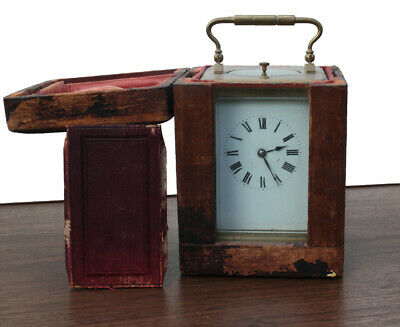 Antique French Brass Travel Carriage Clock and much-worn original wooden case