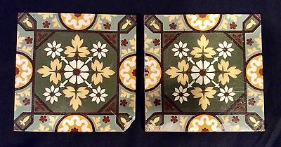 2 Glazed Encaustic Fireplace Hearth Surround Tiles Repaired #74-75