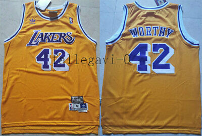 New Men's Los Angeles Lakers NO.42 James Worthy basketball jersey retro yellow