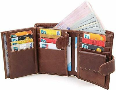 Jingleer Men Wallet RFID Blocking Leather Trifold Credit Card Holder with Coin P