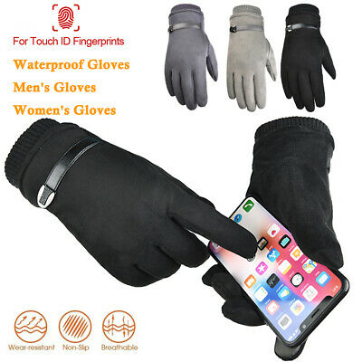 Mens Women Winter Suede Leather Touch Screen Gloves Driver Bike Gloves Windproof