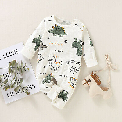 Infant Baby Boys Clothes Dinosaur Romper Long Sleeve Jumpsuit Bodysuit One Piece