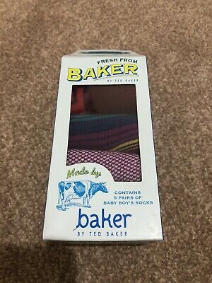 Ted Baker Baby Boy 6-12 Months 5 Pairs Of Socks Boxed Brand New