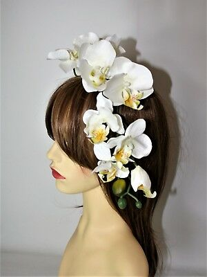 Large White Yellow Orchid Flower on Headband Fascinator Wedding, Races, Party