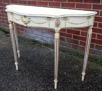 1950s vintage Adam antique Georgian type Classical white gold console hall table