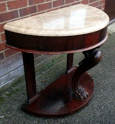 Victorian antique solid Cuban mahogany lions paw foot marble console hall table