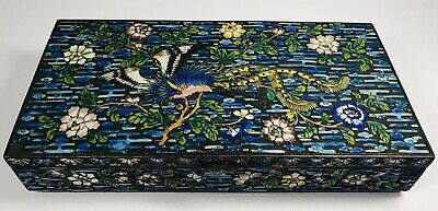 Antique 1920s Chinese Enamel Floral Motif Over Metal Box