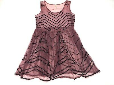 Free People Sheer Nylon Dress with Sequins Sleeveless Size Small Knee Length