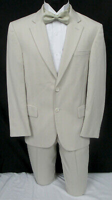 Men's Tan Suit with Pants Destination Spring Summer Wedding Beach Cruise 43R