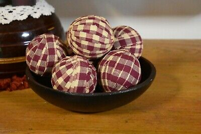 """New Primitive Country Set 6 Red/Cream  Rag Balls Bowl Fillers 2.75"""" Christmas"""